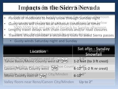National Weather Service Reno, NV - Dec 22, 2012 - Updated Winter Storm Briefing