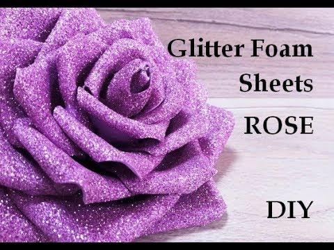 Glitter foam sheet craft ideas  Foam Flowers  Foam sheet craft ideas   Flowers making  Foamiran rose