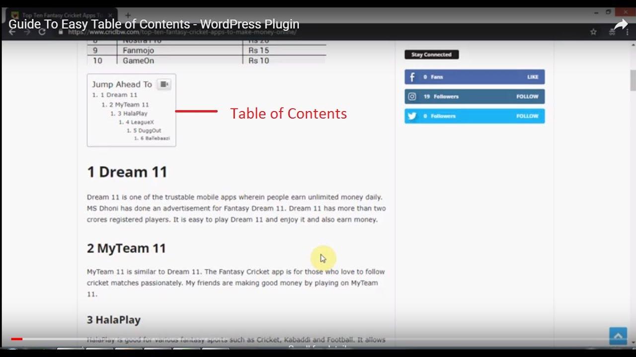 """Résultat de recherche d'images pour """"wordpress easy table contents"""""""
