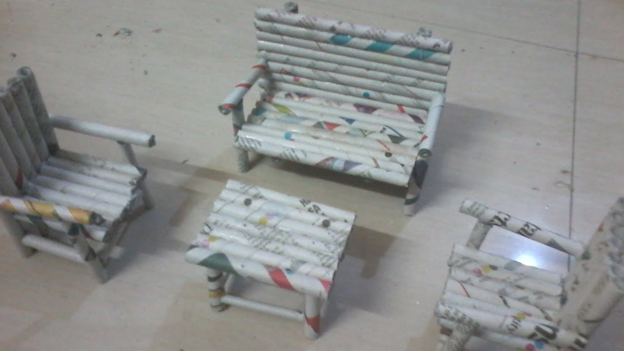 Diy How To Make Sofa Chairs And Teapoy Using News Paper