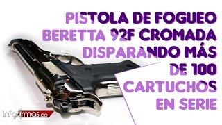 PISTOLA DE FOGUEO BERETTA 92F CROMADA, DISPARANDO MAS DE 100 CARTUCHOS EN SERIE.