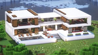 Minecraft: How To Build a Large Modern House Tutorial(#19) | 마인크래프트 건축, 모던하우스, 집 짓기, 인테리어