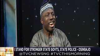 TVC This Morning  14th Nov., 2018   I stand for stronger state govts, state police - Osinbajo