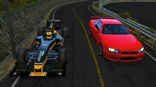 One of the fastest Skyline drivers vs an Formula 1 car on Akina's D...