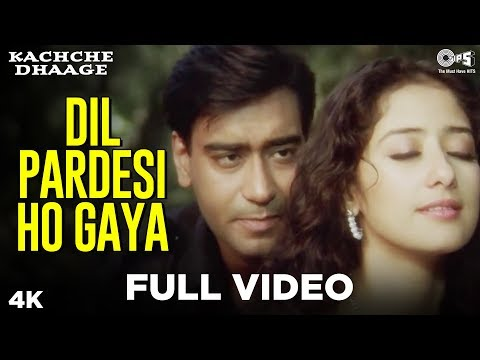 Dil Pardesi Ho Gaya Full Video - Kachche Dhaage | Lata Mangeshkar, & Kumar Sanu | Ajay & Manisha