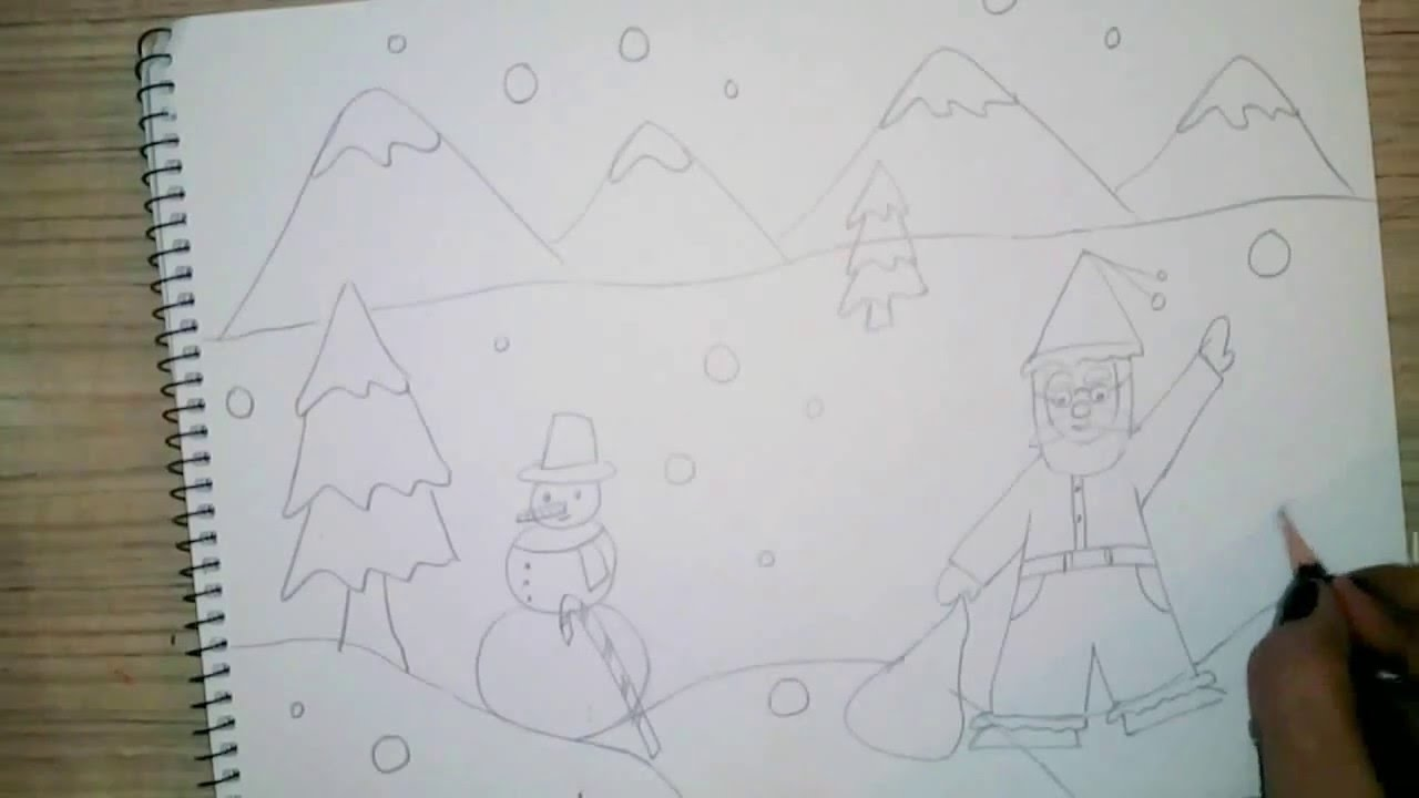 How to draw christmas scene for kids - Very easy - YouTube