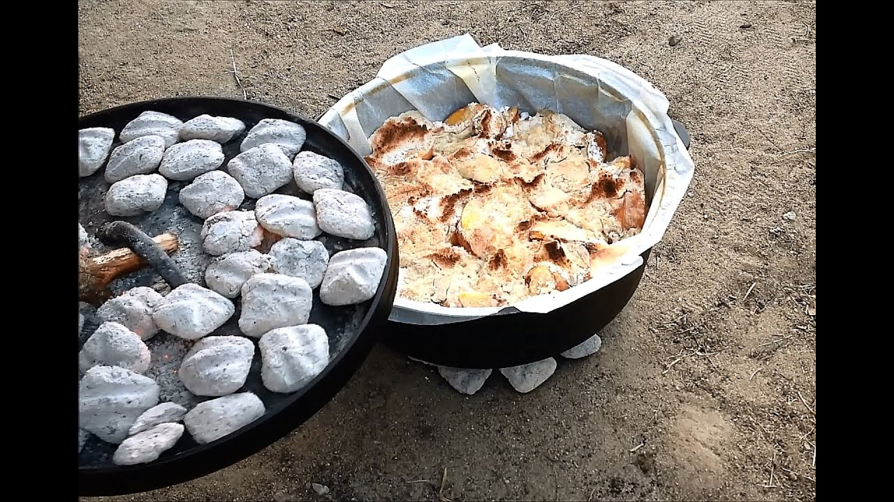 Fresh Peach Cobbler In Lodge Camp Dutch Oven Youtube