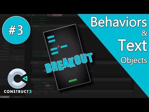 Construct 3 Tutorial part 3 - Brick Breaker / Breakout Game - Behaviors & Text - no coding thumbnail