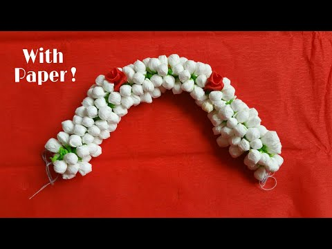 Jasmine flowers with paper |How to string jasmine flowers | diy