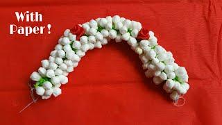 Jasmine flowers with paper |How to string jasmine flowers | diy