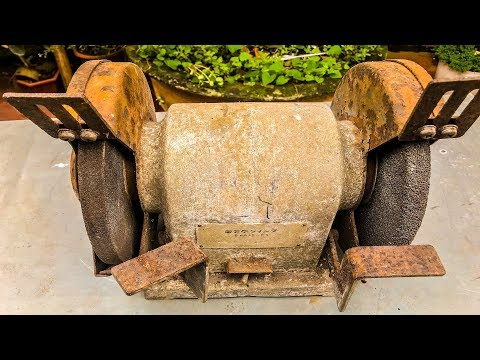 Restoration Rusty Old Double Wheel Table Bench Grinder |Restore Tool Grinding Machine