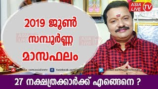 2019 ജൂൺ മാസം മാസഫലം | 9446141155 | Malayalam Astrology | June month Astrology Prediction