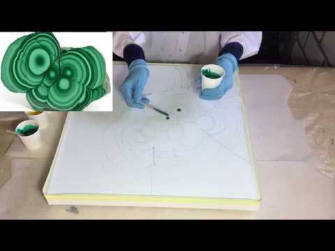 106. Resin Pour on a Canvas. Part 1.  Malachite inspired