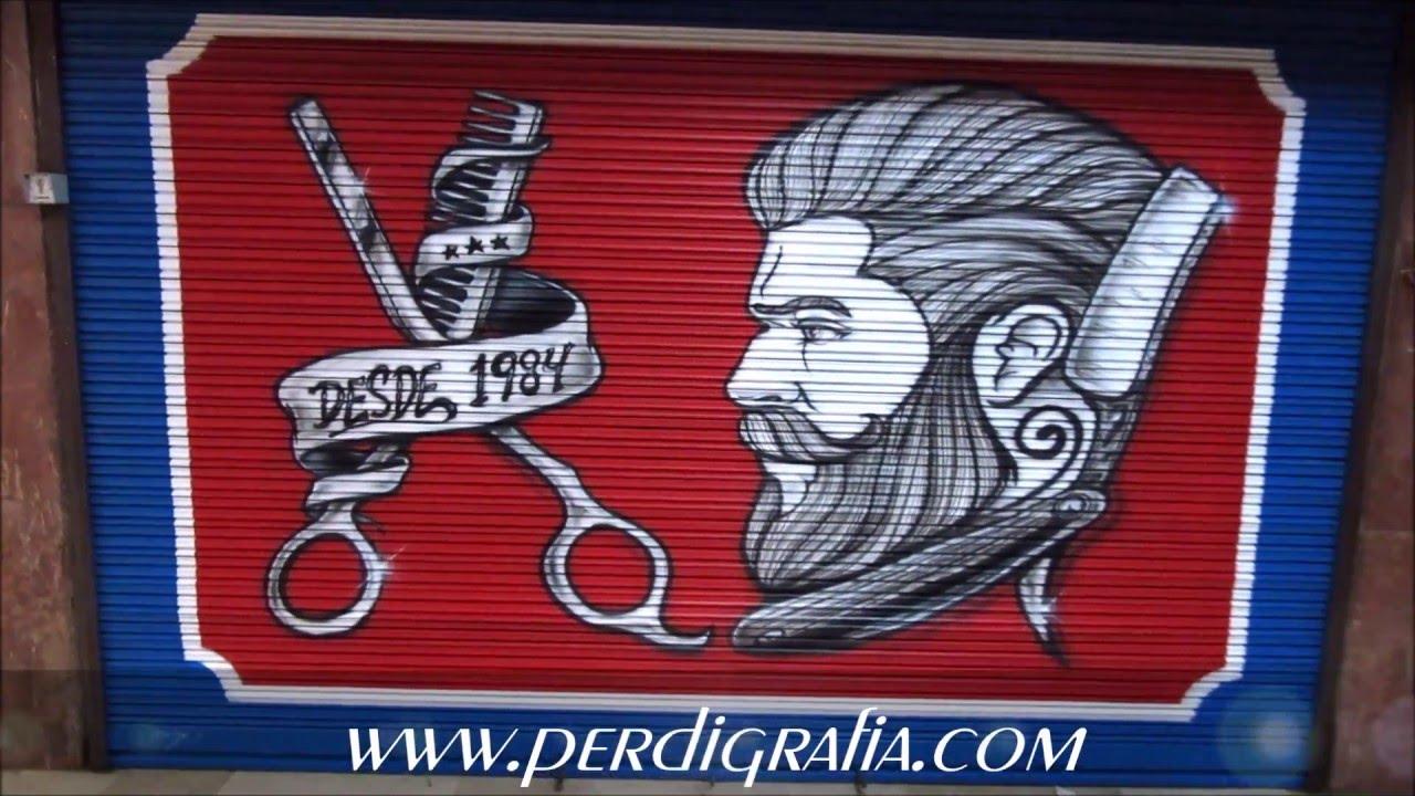 Mural Decorativo En Un Cierre De Una Barberia Youtube