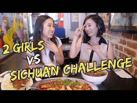 2 Girls VS Spicy Sichuan Food Challenge