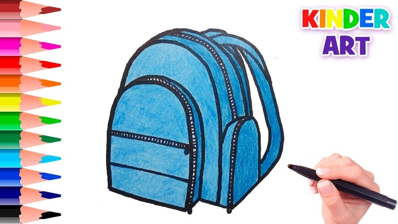 78fd4cb53b2d Как нарисовать школьный рюкзак поэтапно /How to draw a school bag ...