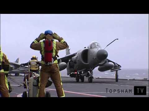 HMS Illustrious Sea Harrier flight deck flying operations