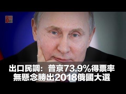 出口民調:普京73.9%得票率無懸念勝出2018俄國大選(《新聞時時報》2018年3月18日)