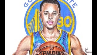 Drawing Stephen Curry MVP 2015 and 2016 | NBA Basketball Player