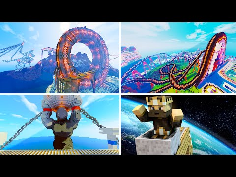 4 EPIC Rollercoaster Maps In Minecraft!