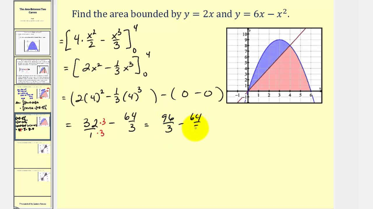 Determining Area Between Two Curves  Integration Application