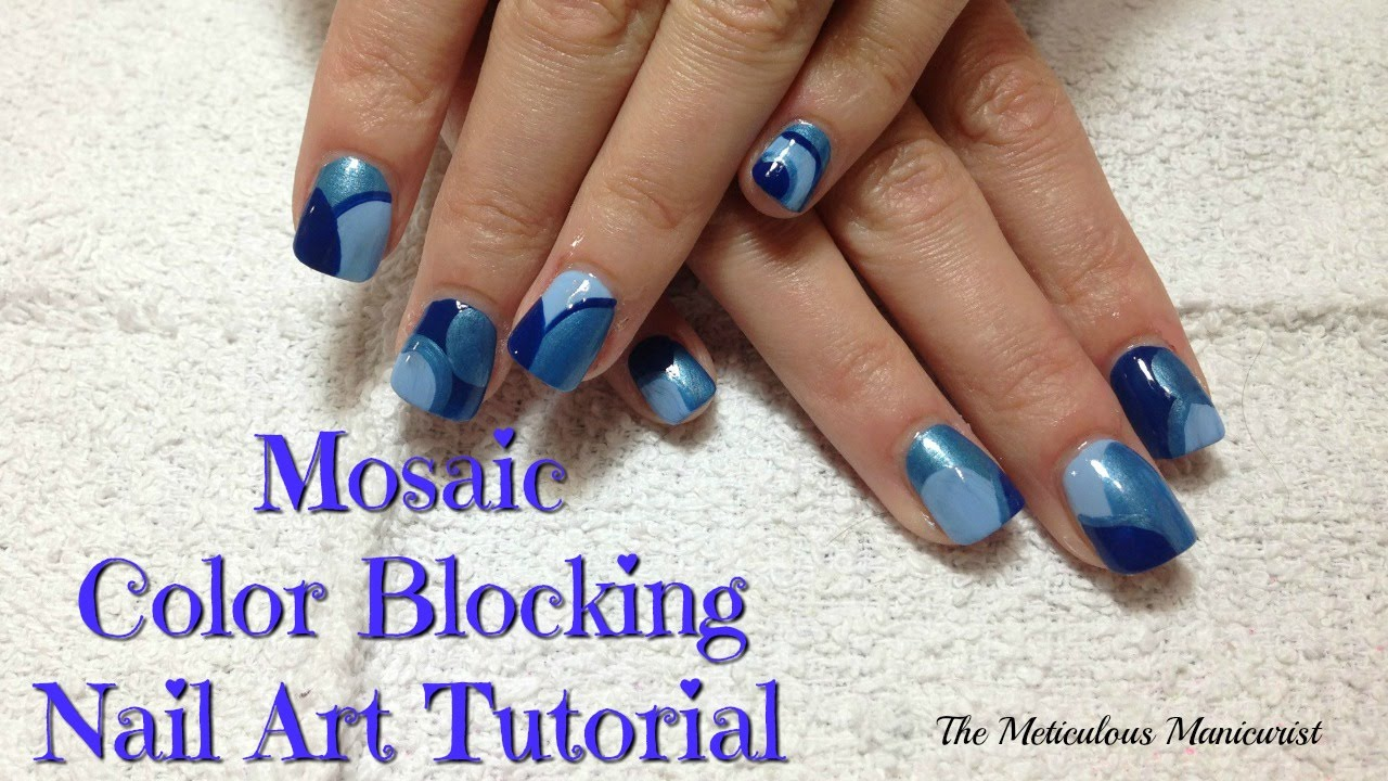Nail Art Tutorial: Shades of Blue Color Blocking - YouTube