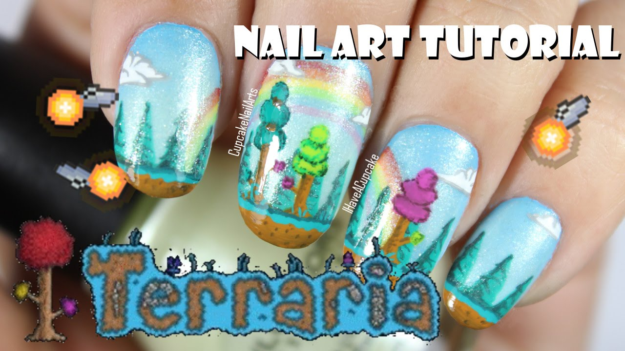 Video Game Nail Art Tutorial - Terraria Hallowed Nails - YouTube