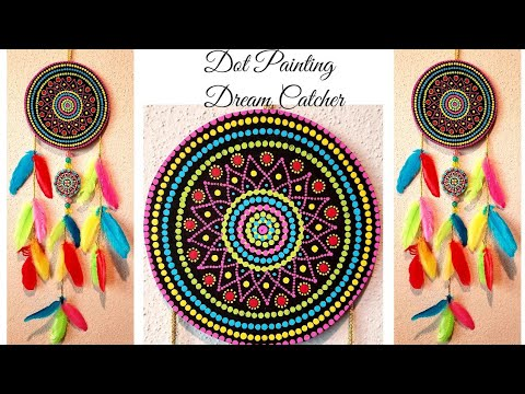How to make Easy Dreamcatcher with dot painting technique | DIY Dream Catcher