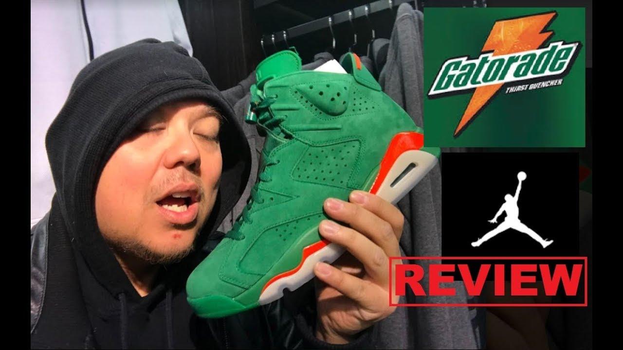 19fd15cb6cf Air Jordan 6 Gatorade Pine Green Suede Retro Sneaker Review - YouTube