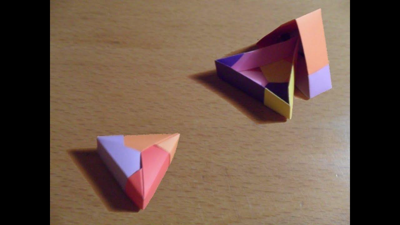 Como hacer una caja tri ngulo origami youtube - Como forrar una caja con tela ...