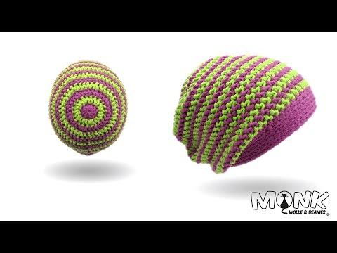 Mütze häkeln mit Rosenstäbchen und Farbwechsel – halbe Stäbchen im Zickzack Muster – Long Beanie