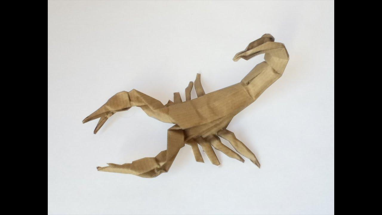 origami wolf instructions diagram giant panda food web scorpion tutorial robert j lang part 3 youtube