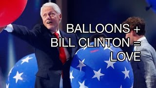 Bill Clinton Playing with Balloons at the DNC, Says No To Little Girl, Hillary Clinton Highlights