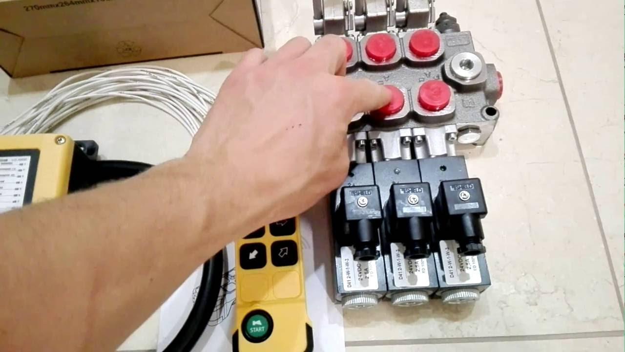 HYDRAULIC BANK MOTOR 3 SPOOL VALVES 60 l/min 12 V + JUUKO CONTROL PANEL  WIRELESS