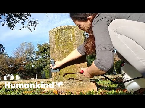 Woman cleaning grave markers is oddly satisfying   Humankind