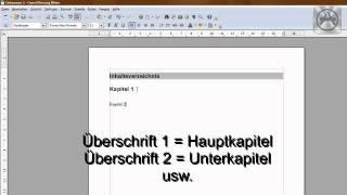 Open Office Tutorial: automatisches Inhaltsverzeichnis