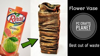 DIY flower vase| Recycle juice carton diy| Best out of waste| art and craft | DIY Craft Ideas