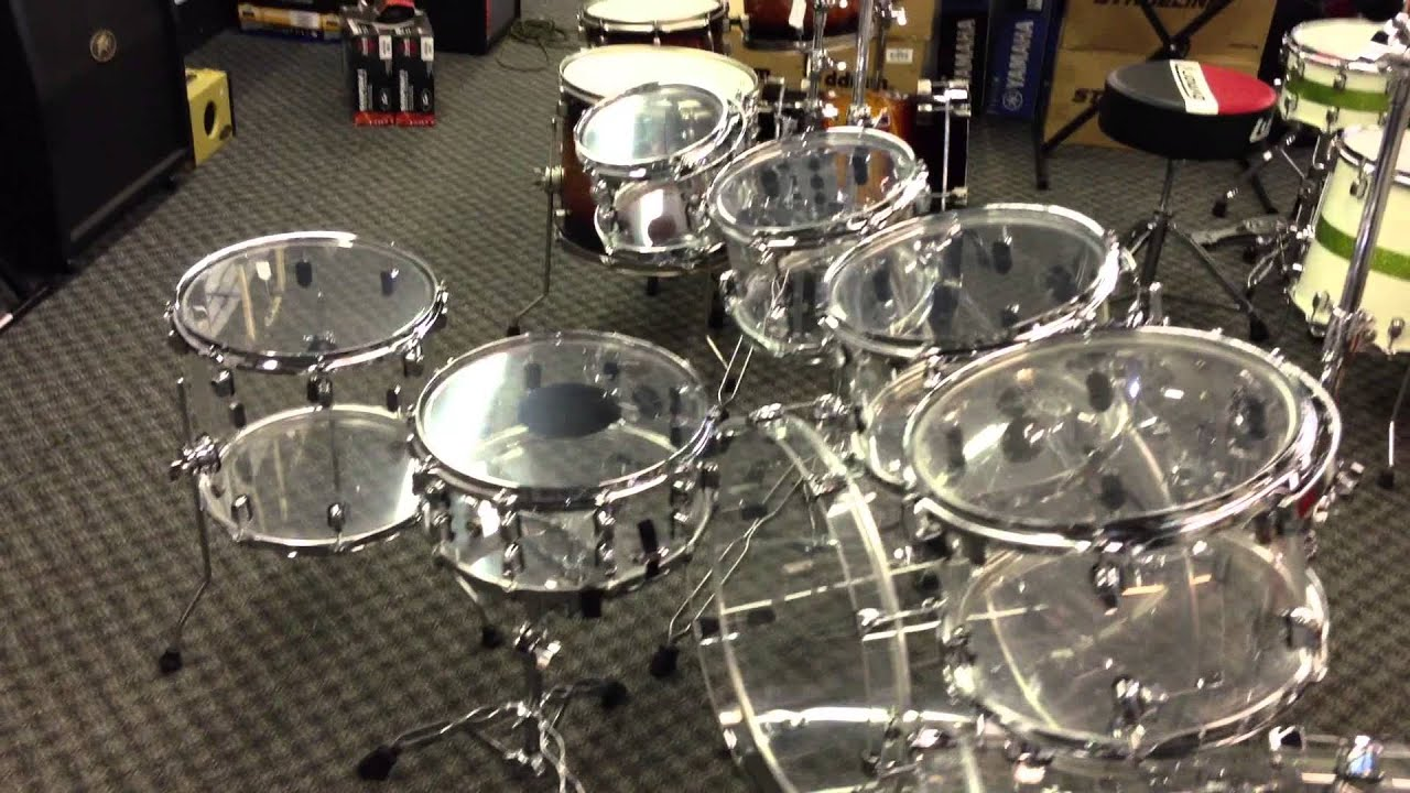 crush acrylic 10 piece drum set clear seamless acrylic shells youtube. Black Bedroom Furniture Sets. Home Design Ideas