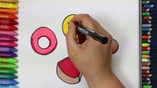 Rosquilla y tarta de queso con Galleta | Cómo dibujar y colorear paso a paso los para niños