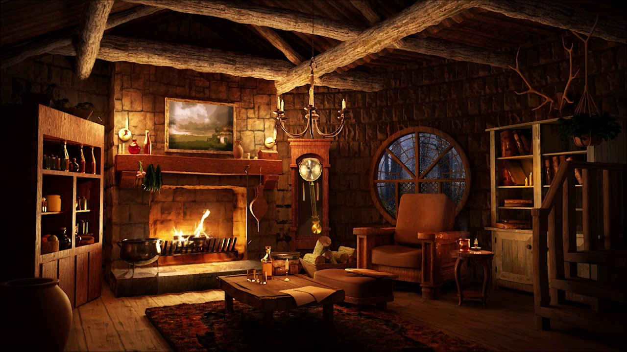Cozy Hut Ambience Light Rain Sound With Warm Fireplace