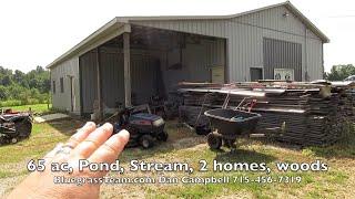 65 acre horse farm, pond, stream, 2 homes, woods, Kentucky, Waynesburg, KY