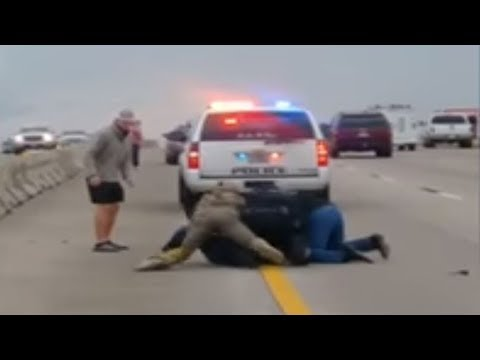 RAW VIDEO: Citizens help police officer arrest man crossing freeway