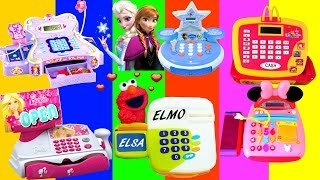 Barbie McDonalds CASH REGISTER Surprise Toys Eggs PlayDoh Disney Frozen Anna Elsa Minnie Sofia Elmo