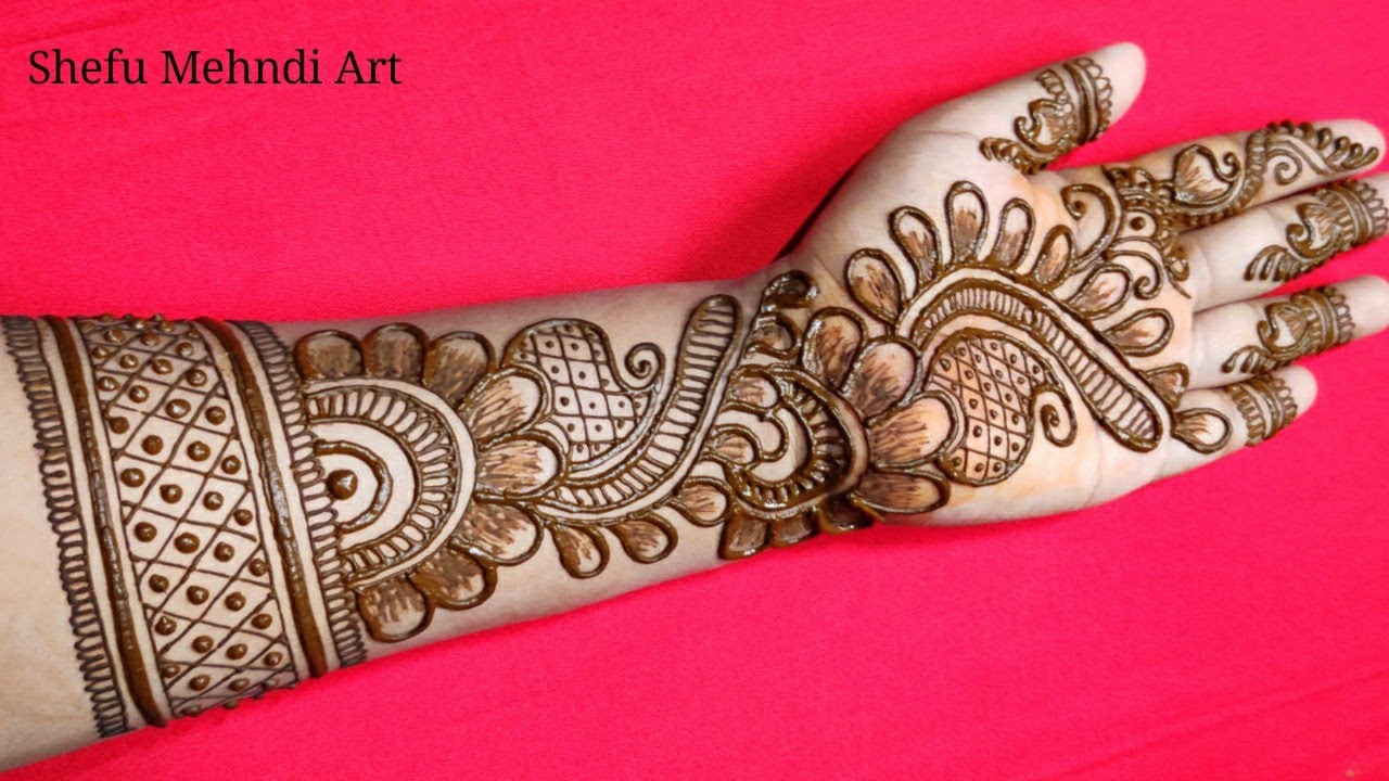 simple mehndi designs for front hands step by step