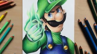 Drawing Luigi from Nintendo using coloured pencils