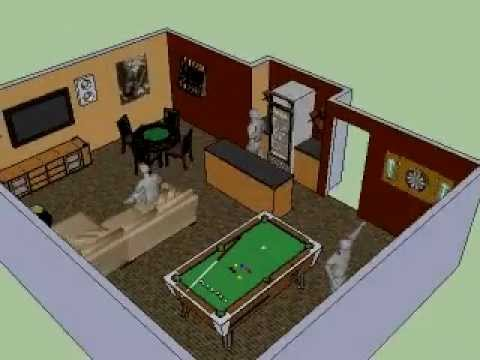 Basement man cave 3d 360 design idea youtube for Man cave plans