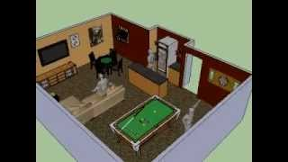 Basement Man Cave 3d 360° Design Idea