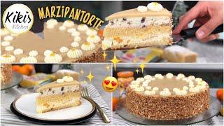 Leckere Marzipantorte - Lockerer Biskuit mit Sahnecreme, Aprikose und Krokant / unglaublich lecker