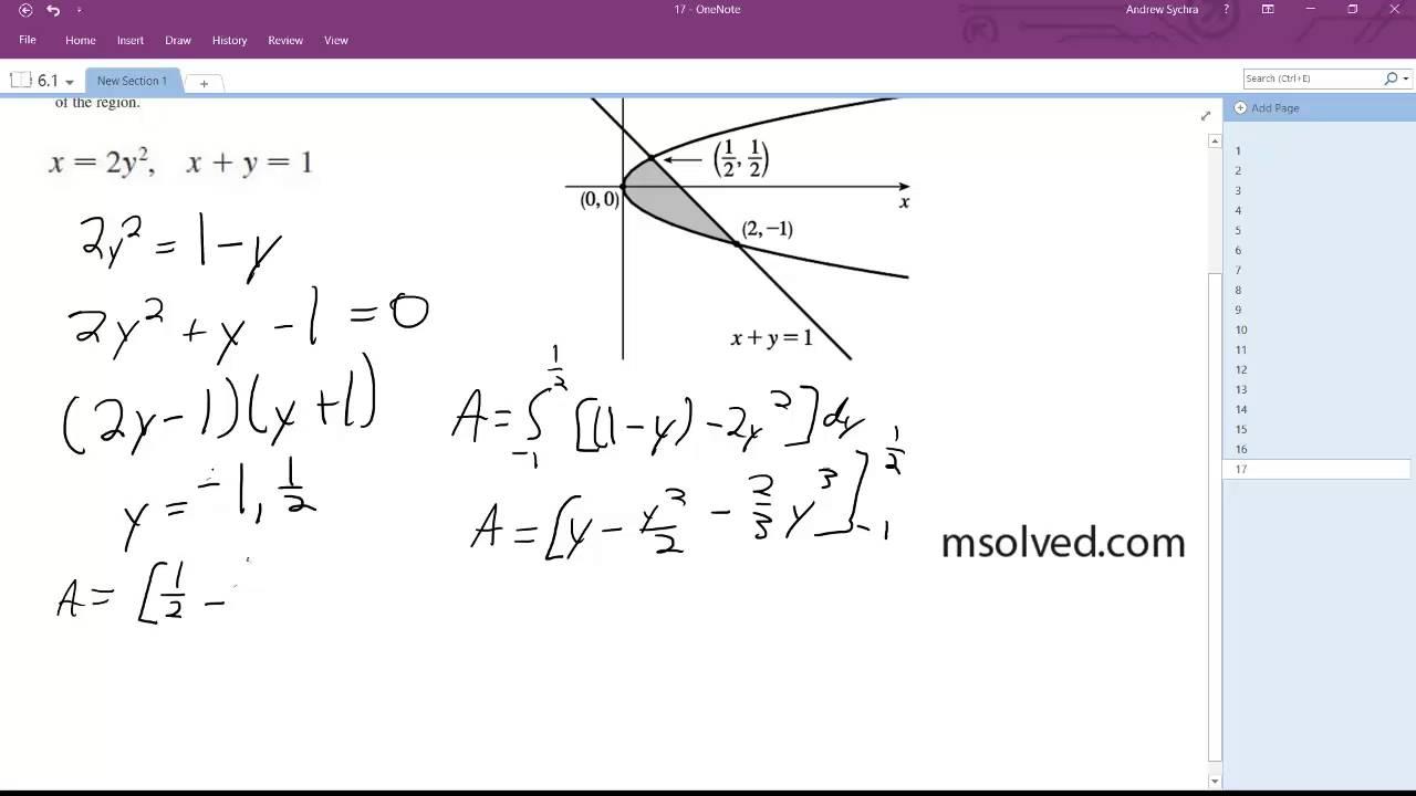 x = 2y^2, x+y = 1 - YouTube