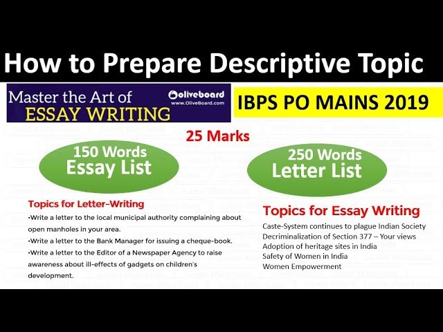 How to Prepare Descriptive Topic for IBPS PO MAINS 2019 - Complete List of Essay and letter